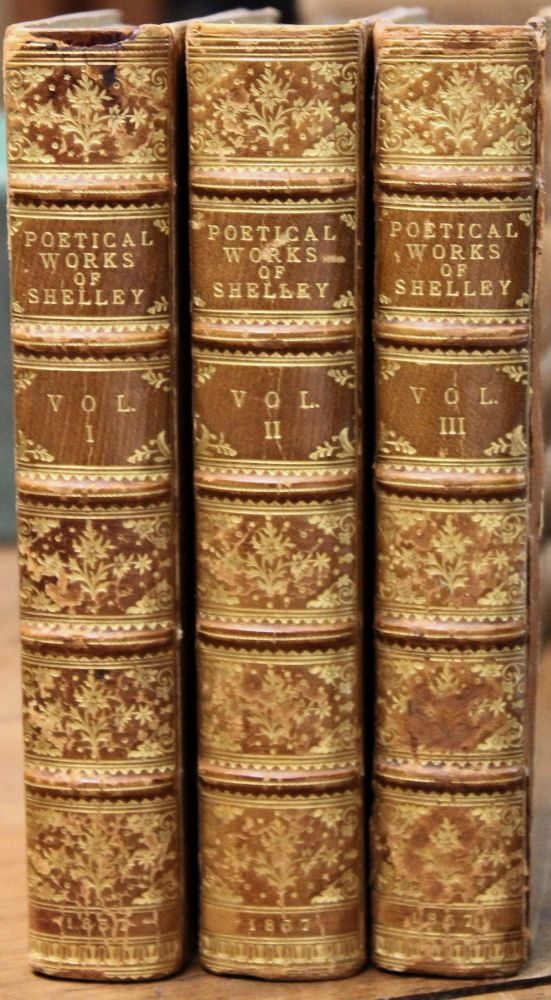 The Poetical Works of Percy Bysshe Shelley. Edited by Mrs. Shelley. In three volumes. Shelley, sshe.