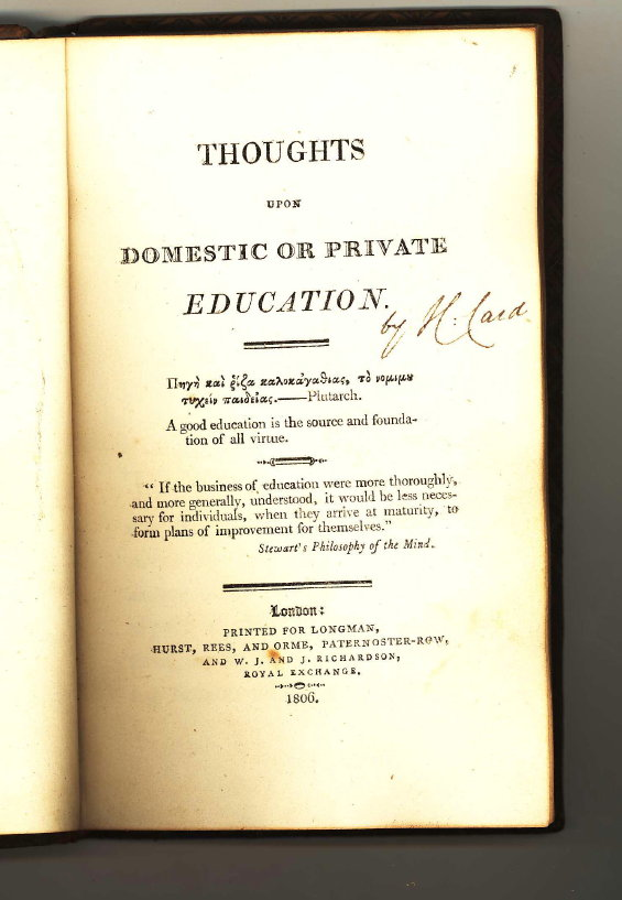 Thoughts upon Domestic or Private Education. H. Card.