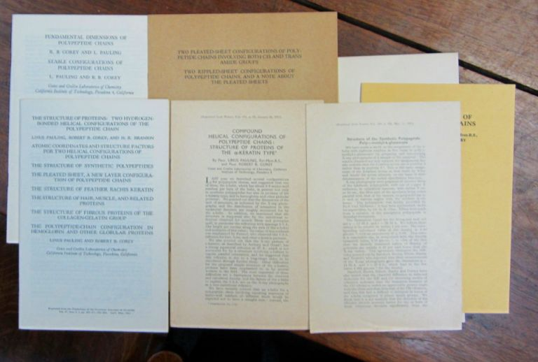 A collection of seven offprints, several containing sixteen papers, chronicling their work on protein structure, 1951-55. Linus Pauling.