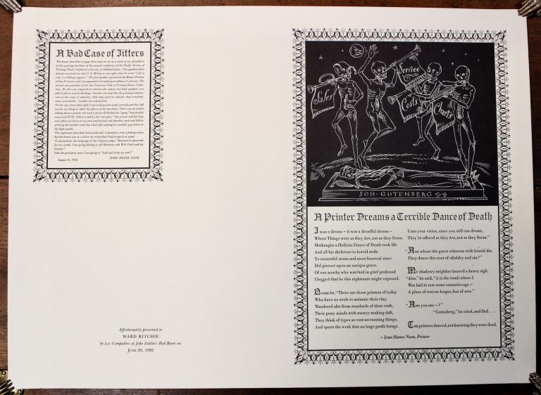 """[Broadside]. A Printer Dances a Terrible Dance of Death"""" [and] """"A Bad Case of the Jitters."""" Affectionately presented to Ward Ritchie by Los Compadres at Jake Zeitlin's Red Barn on June 26, 1982. Ward Ritchie, association."""