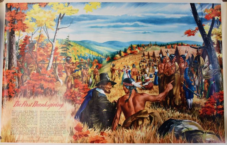 """Four educational posters issued by Pontiac as part of their """"Indians of North America"""" series released for classroom use and showroom display.] Deer in the Water; The First Thanksgiving; Out of the Past; Gateway to the West. Pontiac Motor Company., Education."""