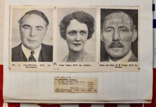 An original scrapbook compiled by a follower of Nancy Astor, the first female Member of Parliament to take her seat in the United Kingdom. Materials within dated 1934-1936.