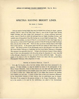 """Spectra Having Bright Lines."" [In] Annals of the Harvard College Observatory, vol. 76, no. 3. ["