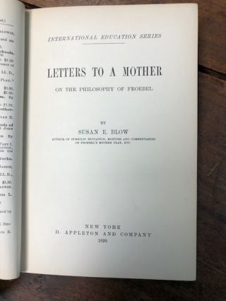 Letters to a Mother on the Philosophy of Froebel.