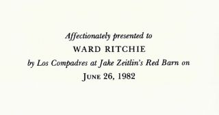 """[Broadside]. A Printer Dances a Terrible Dance of Death"""" [and] """"A Bad Case of the Jitters."""" Affectionately presented to Ward Ritchie by Los Compadres at Jake Zeitlin's Red Barn on June 26, 1982."""