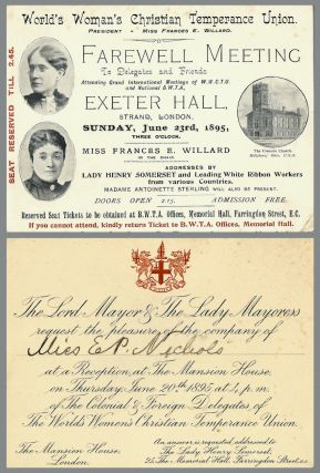 Woman's Christian Temperance Union ephemera, including items from the 1895 World's Woman's Christian Temperance Union Convention in London