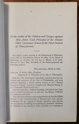 Petition, Proceedings and Testimony. In the matter of the Petition of Kelly et al., in relation to teachings in the Hunter Girls' Grammar School. [Cover title.]