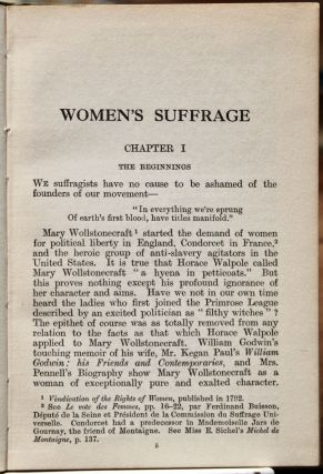 Women's Suffrage: A Short History of a Great Movement. By...[the] President of the National Union of Women's Suffrage Societies.