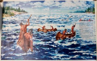 """Four educational posters issued by Pontiac as part of their """"Indians of North America"""" series released for classroom use and showroom display.] Deer in the Water; The First Thanksgiving; Out of the Past; Gateway to the West."""